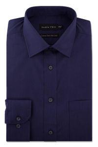 Camasa barbati clasica, Double Two-British Design, maneca lunga cu manseta nasturi/butoni, bumbac, camasa barbateasca regular fit, uni, usor de calcat, bleumarin, 45/46