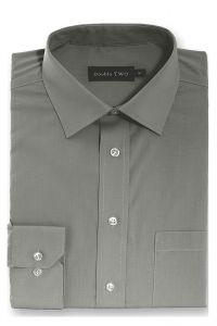 Camasa barbati clasica, Double Two-British Design, maneca lunga cu manseta nasturi/butoni, bumbac, camasa barbateasca regular fit, uni, usor de calcat, gri inchis, 39/40
