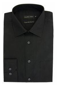 Camasa barbati clasica, Double Two-British Design, maneca lunga cu manseta nasturi/butoni, bumbac, camasa barbateasca regular fit, uni, usor de calcat, negru, 38