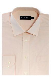 Camasa barbati clasica, Double Two-British Design, maneca lunga cu manseta nasturi/butoni, bumbac, camasa barbateasca regular fit, uni, usor de calcat, piersica, 43/44