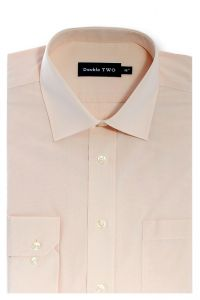 Camasa barbati clasica, Double Two-British Design, maneca lunga cu manseta nasturi/butoni, bumbac, camasa barbateasca regular fit, uni, usor de calcat, piersica, 43