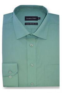 Camasa barbati clasica, Double Two-British Design, maneca lunga cu manseta nasturi/butoni, bumbac, camasa barbateasca regular fit, uni, usor de calcat, verde mint, 42