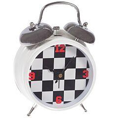 Ceas de masa, cadran tabla de sah, J-Line, alb