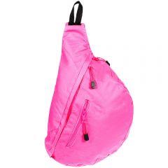Rucsac unisex cu o singura bretea ajustabila, buzunar pentru telefon pe bretea, buzunar exterior cu fermoar, rucsac sport/casual, roz, Maxx