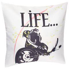 Fata de perna pentru perne decorative, model motocicleta Life, material textil, multicolor, Maxx, 43 x 43 cm