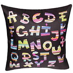 Fata de perna decorativa, model alfabet, material textil, multicolor, Maxx, 43 x 43 cm