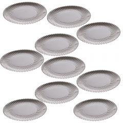 Set 10 farfurii desert, platou ornamental pentru prajiuri, tort, argintiu, d 19 cm, Dolce Vita