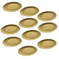Set 10 farfurii desert, platou ornamental pentru prajiuri, tort, auriu, d 19 cm, Dolce Vita