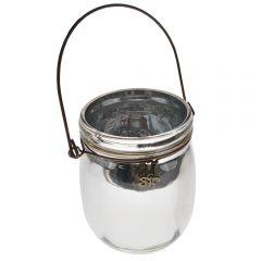 Borcan decorativ cu toarta metalica, sticla, suport lumanare, decoratiune de interior/exterior, HB, argintiu, h 13, d 9 cm