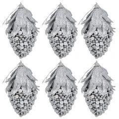 Globuri de Craciun, set de 6, forma de fruct, Maxx, argintiu, h 12 cm, Maxx
