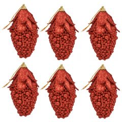 Globuri de Craciun, set de 6, forma de fruct, Maxx, rosu sclipitor, h 12 cm, Maxx
