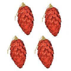 Globuri de Craciun, set de 4, forma de conuri de brad, Maxx, rosu sclipitor, h 12 cm, Maxx
