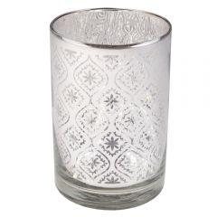 Suport lumanare ambientala, pahar suport lumanare, decoratiune de interior/exterior, d 8 cm, h 12 cm, sticla, gri, Gusta