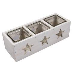Set 3 pahare suport lumanari ambientale, in cutie de lemn, decoratiune interior/exterior, Gusta, 26.5 x 9.5 x 8 cm