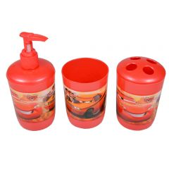 Accesorii baie pentru copii, set de 3 buc, plastic, 1 x suport periute, 1 x canita si 1 x dozator gel dus, Disney-Cars, rosu