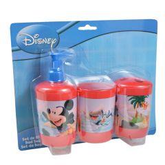 Accesorii baie pentru copii, set de 3 buc, plastic, 1 x suport periute, 1 x canita si 1 x dozator gel dus, Disney Mickey Mouse, bleu-rosu