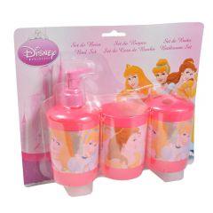 Accesorii baie pentru copii, set de 3 buc, plastic, 1 x suport periute, 1 x canita si 1 x dozator gel dus, Disney Princess, roz