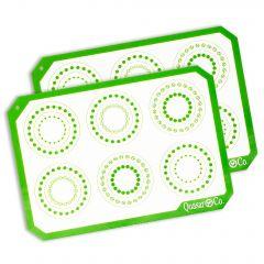 Foaie antiaderenta, folie copt silicon, set 2 foi pentru cuptor, inlocuieste hartia de copt, reutilizabil, 29.5 x 21 cm, Quasar&Co, alb / verde