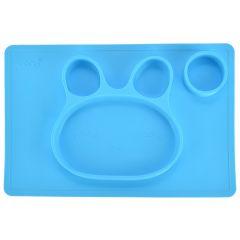 Farfurie compartimentata din silicon, 38 x 25 cm, bol de invatare / mancare din silicon forma iepuras, pentru copii, antiderapanta, bol de mancare compartimentat pentru diversificare, albastru, Ubbe