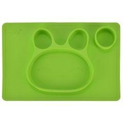 Bol de invatare / mancare din silicon, farfurie compartimentata din silicon, forma iepuras, pentru copii, antiderapanta, bol de mancare compartimentat pentru diversificare, verde, 38 x 25 cm, Ubbe