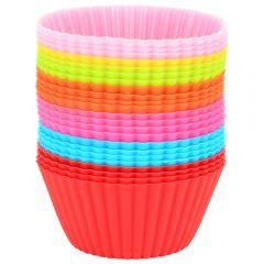 Forme briose Quasar&Co., set de 24 bucati, silicon, forme de copt, madeline, mini tarte, 7 cm, multicolor