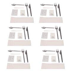 Pachet 6 seturi de unica folosinta cu furculita, cutit, lingurita, paleta cafea/ceai, servetel uscat, servetel umed, sare, piper