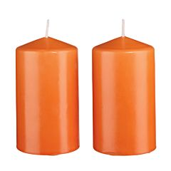 Set 2 lumanari parfumate, lumanare stalp, h = 12cm, aroma portocala, Melinera, portocaliu, 8 x 12 cm