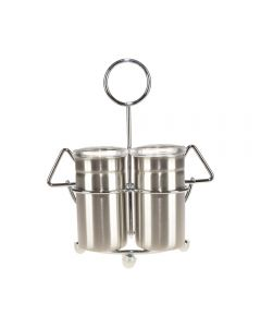 Set solnita si pipernita, set sare si piper, metalic, stativ cu inel de agatare/prindere, pentru restaurante, terase, uz casnic, set condimente/oliviera, Enger