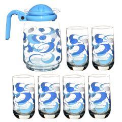 Cofer 1,5 L cu 6 pahare 300 ml, sticla, set de 7 piese, carafa cu capac + 6 x pahar sticla cu model, set servire bauturi, albastru, Enger