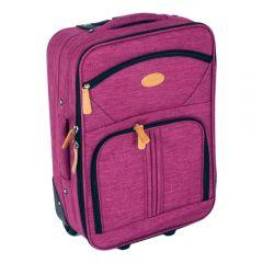Troler cabina compatibil cu toate liniile aeriene, geamantan avion, valiza mana cu 2 roti, textil, Leonardo, 35 L, 53 x 35 x 19 cm, 18 inch, grena