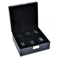 Caseta ceasuri si bijuterii, 6 compartimente, interior catifea, cutie bratari, inele, lantisoare, cercei, organizator bijuterii si ceasuri, Deluxa, 18 x 17 x 8.5 cm, piele ecologica, negru
