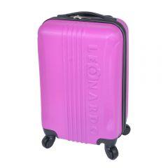 Troler cabina avion compatibil cu toate liniile aeriene, geamantan mana cu 4 roti, valiza din ABS, Leonardo, dimensiuni exterioare 52 x 31 x 20 cm, roz