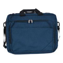 Geanta pentru laptop, servieta notebook si periferice, 4 compartimente cu fermoar, bareta fixare pe troler, 41 x 32 x 16 cm, Marksman, bleumarin