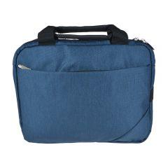 Geanta laptop/tableta/notebook, buretata, 2 buzunare interioare mici si un buzunar exterior cu fermoar, 33 cm x 26 cm, Marksman, bleumarin