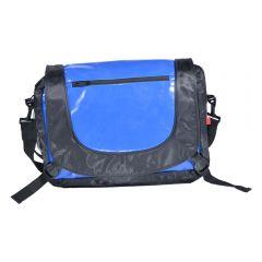 Geanta de umar, tip mesager, compartimente inchidere cu fermoar, material impermeabil, 38 x 25 x 11 cm, panza gudronata, Wil Langenberg, negru-albastru