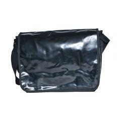 Geanta de umar, tip mesager, material impermeabil, 36 x 28 x 13 cm, panza gudronata, Wil Langenberg, negru