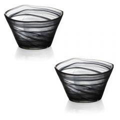 Suporturi lumanari, set de 2, din sticla, bol rezistent pentru decoratiuni, decoratiune de interior/exterior, Viva