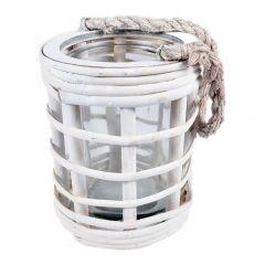 Suport lumanare din ratan cu bol de sticla cu funie agatare, felinar vintage pentru balcon, foisor, veranda, decoratiune de interior/exterior, alb, h 17 cm, d 13.5 cm, DecoStar