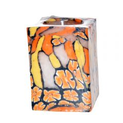 Lumanare decorativa din ceara, lumanare ornamentala, forma patrata, lumanare fara miros, Pierrot, 7 x 10 cm, multicolor