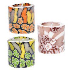 Lumanari decorative , set de 3, cilindrice, 3 x lumanare decorativa cu model, neparfumate, multicolor, d 5, h 5 cm, Pierrot