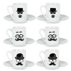 Set 6 cesti cu farfurii, 12 piese, serviciu cafea, 6 x ceasca + 6 x farfurie, portelan, model Mustache, cesti de cafea pentru espresso, alb-negru, Cosy&Trendy
