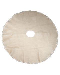 Covor pentru bradul de Craciun, baza pentru pomul de Craciun, colectare ace de brad, iuta, d 125 cm, rotund, crem, Quasar