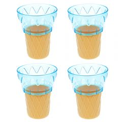 Cornet din plastic, cupa inghetata sau desert, set de 4, cupa servire inghetata/desert, albastru, 11 cm