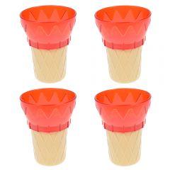 Cornet din plastic, cupa inghetata sau desert, set de 4, rosu, 11 cm