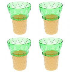 Set de 4 cornet din plastic, cupa inghetata sau desert, verde, 11 cm