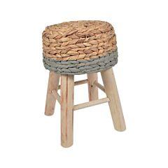 Taburet vintage din lemn de eucalipt, scaun model rustic rotund, tapitat cu impletitura de trestie, Maxx, 42 cm, crem-gri