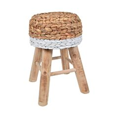 Taburet vintage din lemn de eucalipt, scaun model rustic rotund, tapitat cu impletitura de trestie, Maxx, 42 cm, crem-alb