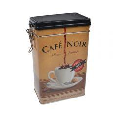 Cutie metalica depozitare alimente, recipient cu capac etans din plastic, Cafe Noir, 1.8 L, maro, 11.7 x 7.8 x 19.7 cm