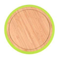 Tocator bambus cu margine antialunecare din silicon, Tocator bambus cu margine antialunecare din silicon, BergHOFF, rotund, 25 x 1.5 cm, platou servire, farfurie bambus servire, rotund, 25 x 1.5 cm, platou servire, farfurie bambus servire