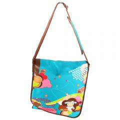 Geanta laptop tip postas pentru copii si adolescenti, ghiozdan copii, Miss B, 36 x 33 x 10 cm, turcoaz
